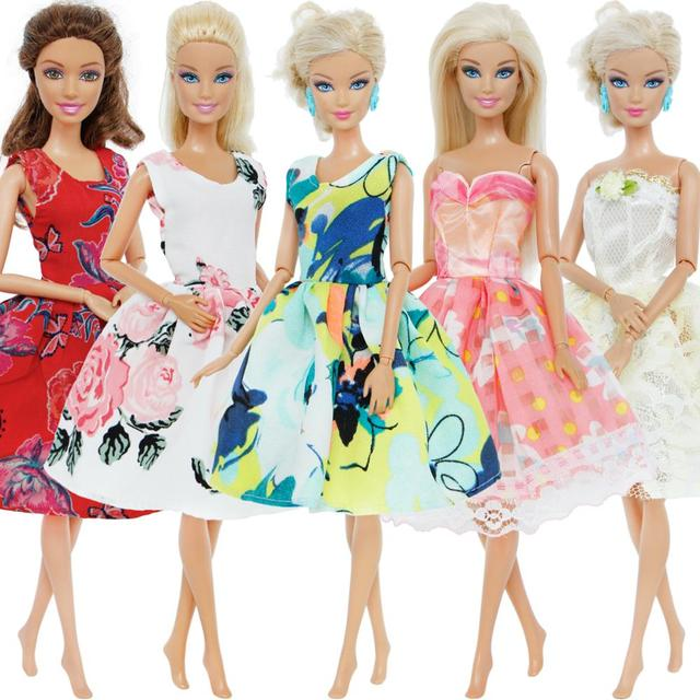 High Quality 5 Pcs Lot Dress Mixed Style Colourful Wedding Party Gown  Princess Skirt Accessories Clothes For Barbie Doll Gift 2e2f60e0625a