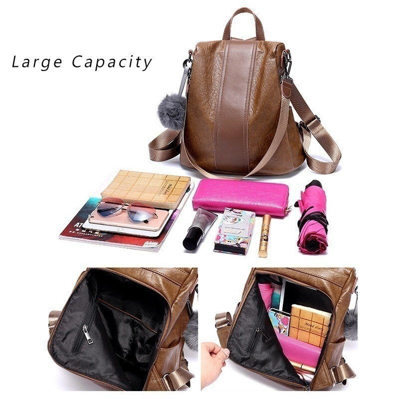 Fashion Women Genuine Leather Backpack Women Backpacks Leather Fashion Backpack Luxury Brown Ball Sac A Dos Femme Anti Thief Bag