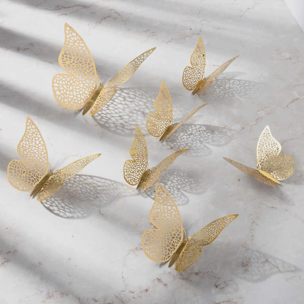 12 Pcs 3D Hollow Wall Stickers Butterfly Fridge for Home Decoration Mariposas Decorativas Wall Decor Mariposas Decorativas #j02