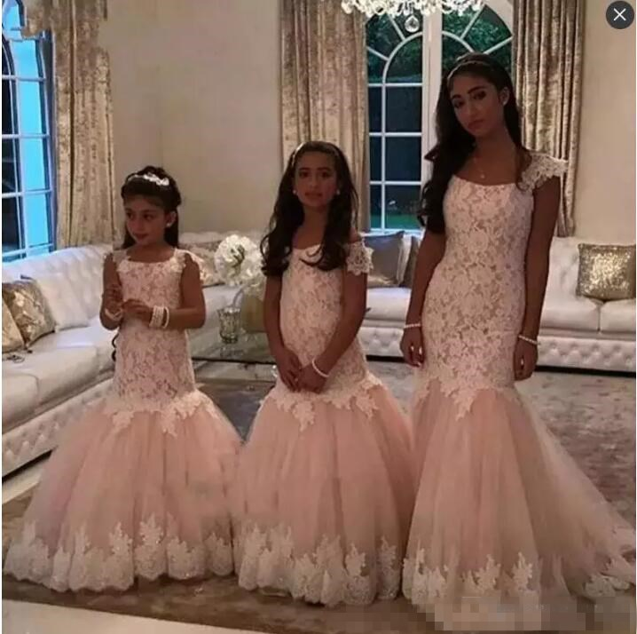 Blush Pink Lace Mermaid Girls Pageant Dresses With Cap Sleeves Long Flower Girls Dresses For Weddings Zipper Back Kids Party Bir стоимость