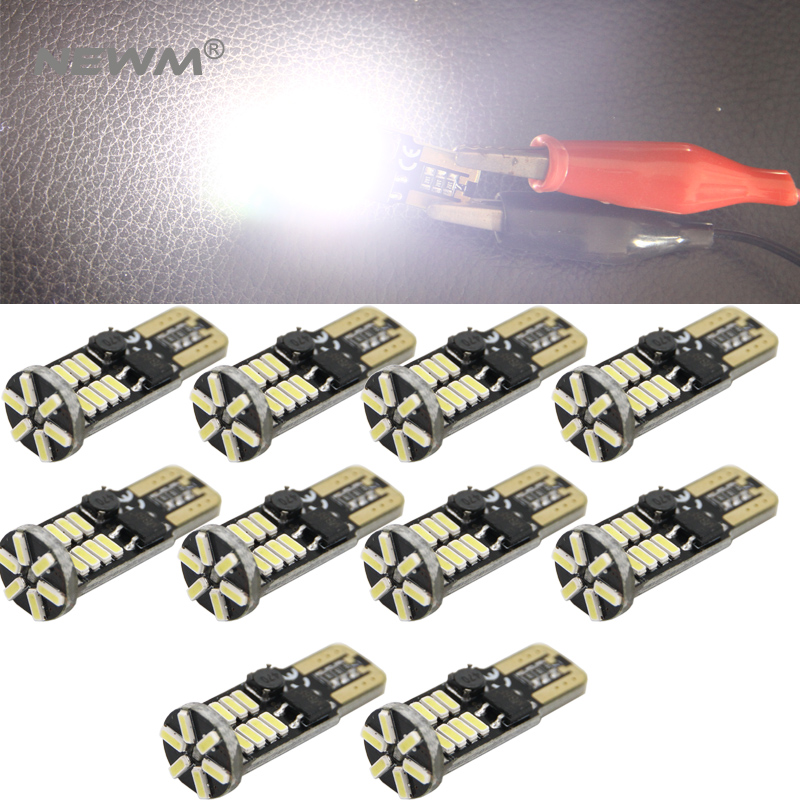 10pcs T10 Led Canbus T10 22 Led 4014 Smd Led No Obc Error 194 168 W5w T10 Canbus Non Polarity Led Wedge Bulb Car-styling