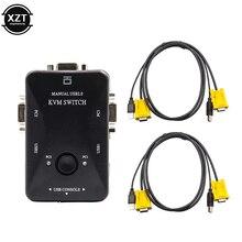 2 порта USB 2,0 KVM переключатель 1920*1440 VGA переключатель SVGA разветвитель с двумя кабелями для клавиатуры мыши монитора компьютера