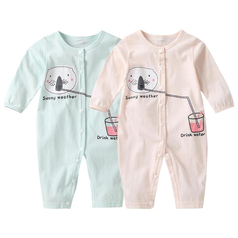 Spring Newborn Baby Long Sleeve Cartoon O-Neck   Romper   Front Button Jumpsuit