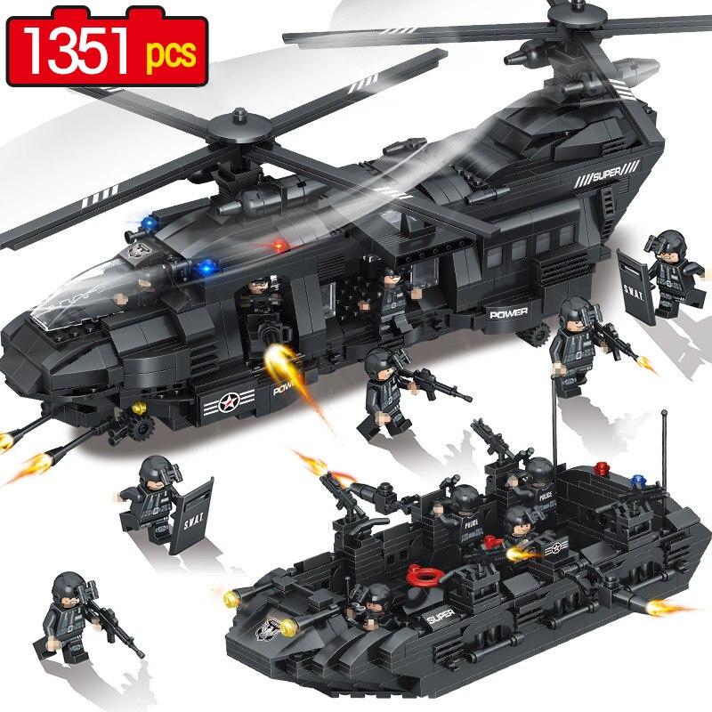1351 pcs Swat Équipe Modèle Blocs de Construction Compatible legoINGLY Ville Police de Transport Chinook Hélicoptère Corps Chiffres SWAT Jouets