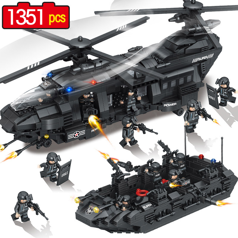 1351Pcs Swat Team Model Building Blocks Chinook Transport Helicopter Corps Figures QUNLONG SWAT City Police Toys bohs building blocks city police station coastal guard swat truck motorcycle learning