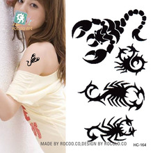 Body Art Waterproof Temporary Tattoos For Men And Women Personality Black Scorpion Small Tattoo Sticker HC1164