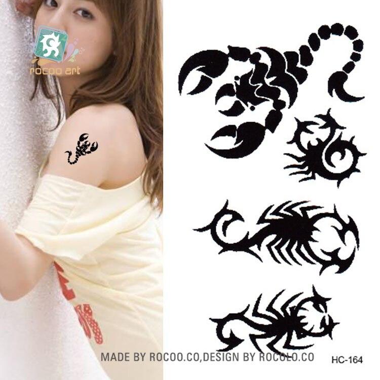 Body Art Waterproof Temporary Tattoos For Men And Women Personality Black Scorpion Small Tattoo Sticker Wholesale HC1164