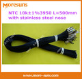 Free shipping 20pcs/lot NTC10k 1% 3950 L=500mm with stainless steel nose fixed hole 4 mm cable length 500 mm NTC Sensor