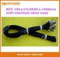 O envio gratuito de 20 pçs/lote NTC10k 1% 3950 L = 500mm com aço inoxidável nariz buraco fixo 4mm comprimento do cabo 500mm NTC Sensor de
