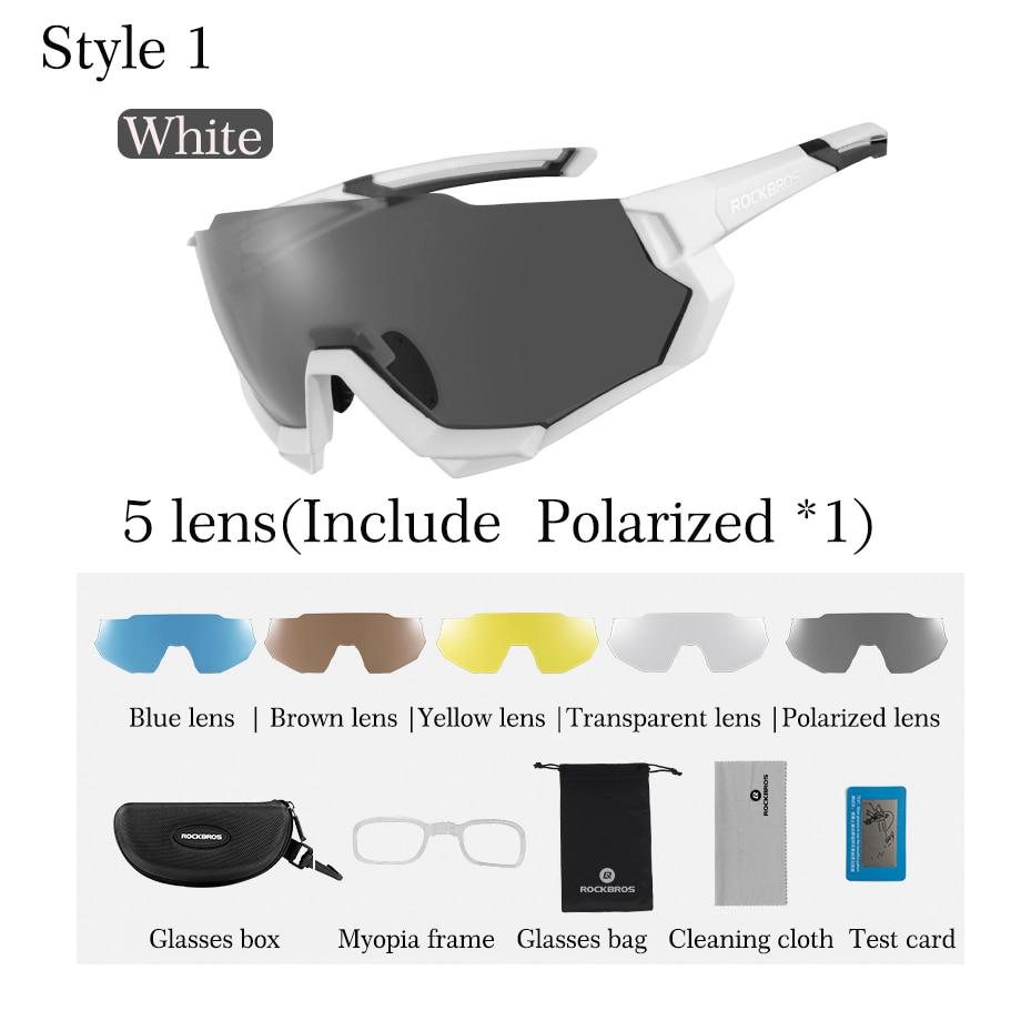 RockBros Polarized Cycling Sunglasses Goggles Eyewear Bike Glasses White New