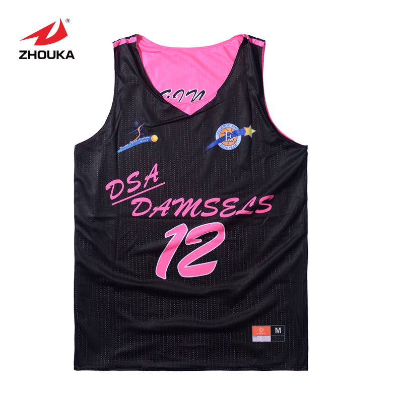2016 Zhouka Hot sale Reversible Basketball uniform Breathable Custom