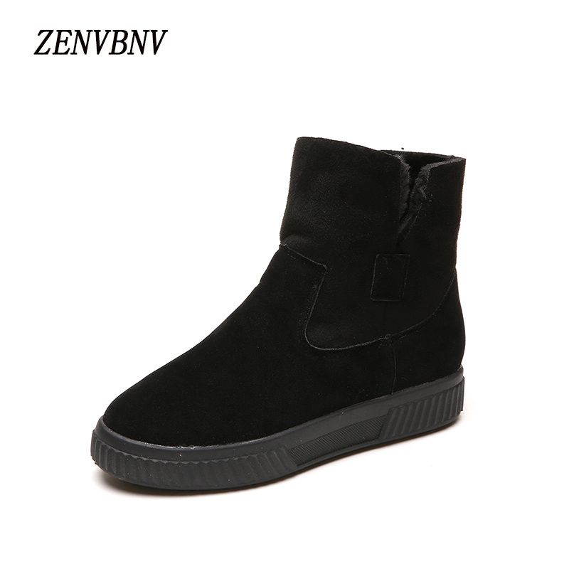 ZENVBNV New Arrivals Super Warm Women Boots Fashion Winter Flock Slip-on Snow Boots Warm Boots Plush Ankle Work Women Boots