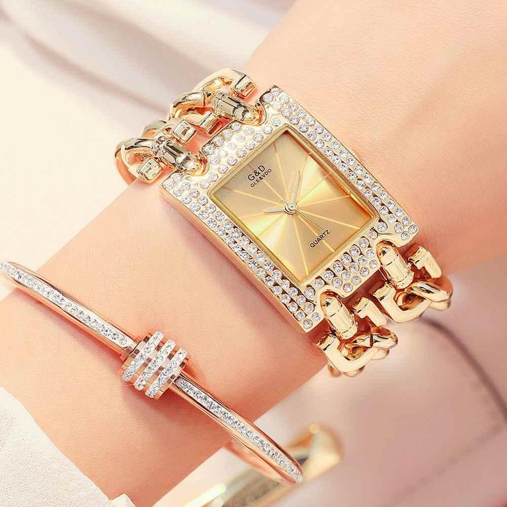 2018 новые женские часы Роскошные наручные часы Аналоговые кварцевые часы из нержавеющей стали модные стразы браслет Двойные цепи Подарки