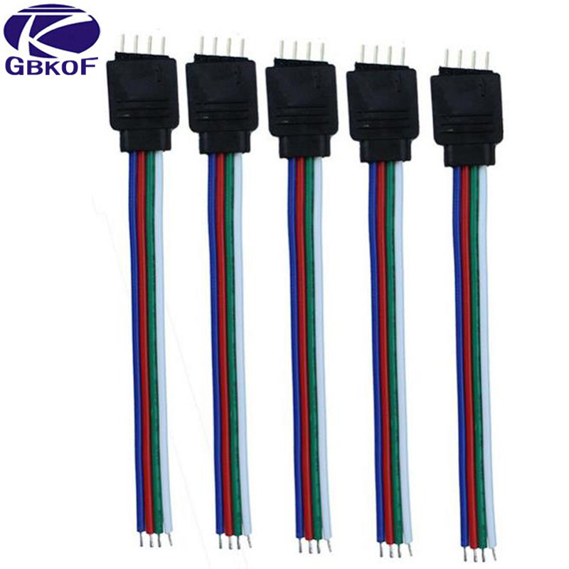 5pcs/Lot 10cm RGB 4 pins Male Connector Wire Cable For 5050 3528 RGB Led strip, Male Type 4 Pin Needle Connector Free Shipping 10pcs 4 pin rgb 5pin rgbw connector adapter pin needle male type double for rgb rgbw 5050 3528 led strip light led accessories