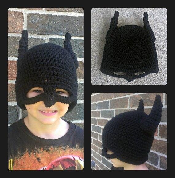 Envío libre, niño Batman máscara casco earflap del ganchillo del ...