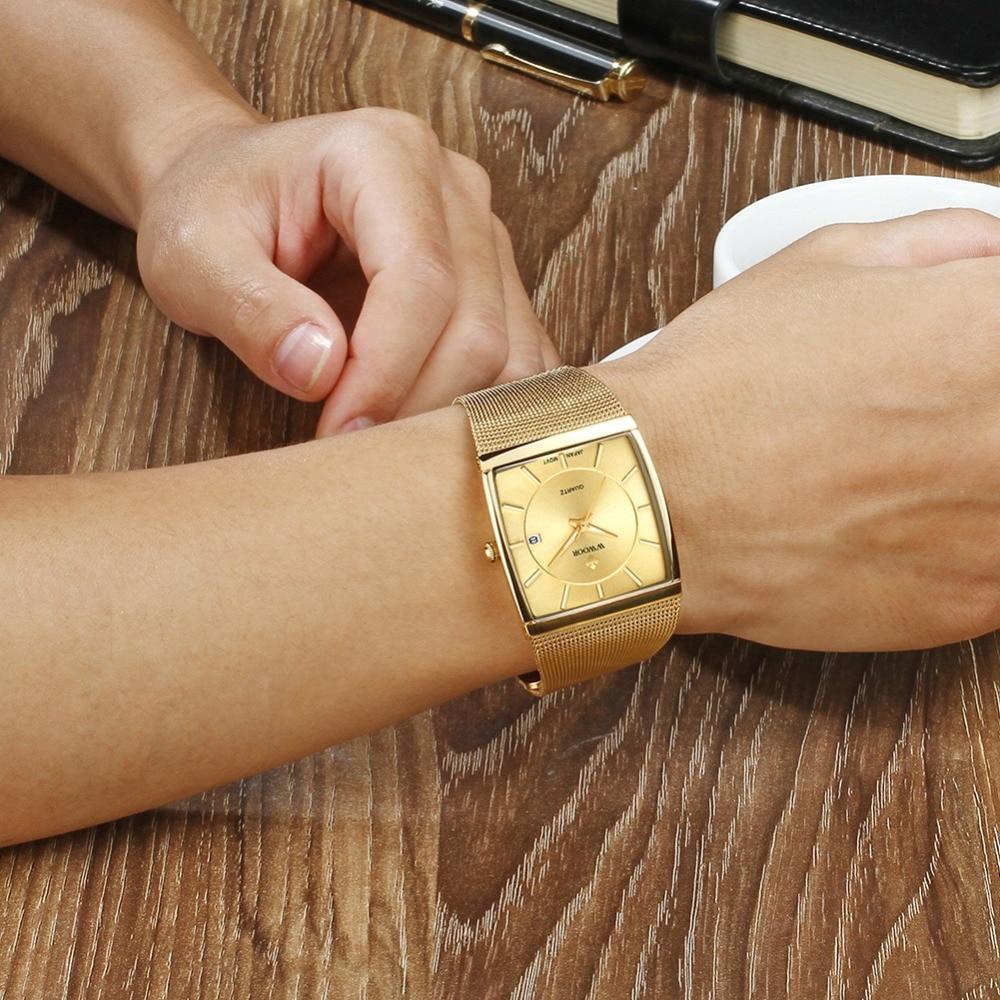 2018 Golden Quartz Watch Men Watches relogio masculino Top Luxury Gold Bracelet Wrist Watches Steel Male Clock whatches Square 4