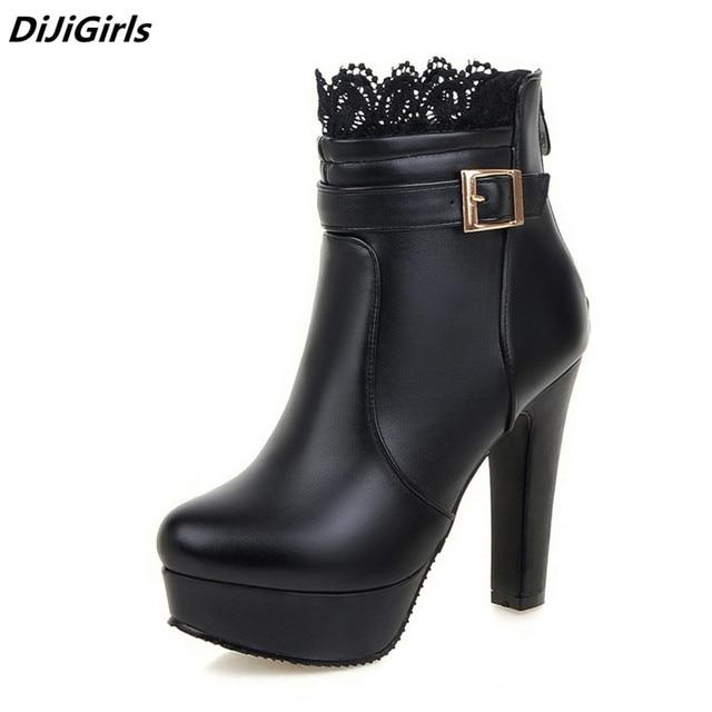 d3d884d028c Las mujeres botas Zapatos de tacón alto zapatos de plataforma botas para  mujer de encaje de