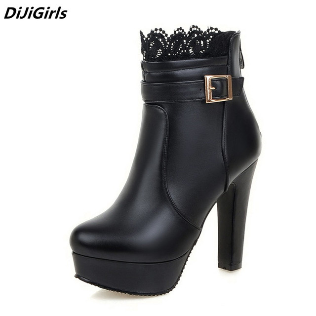7a02968ba Mujeres botas tacones altos plataforma zapatos moda Lace hebilla talón fino  botas para mujer primavera otoño
