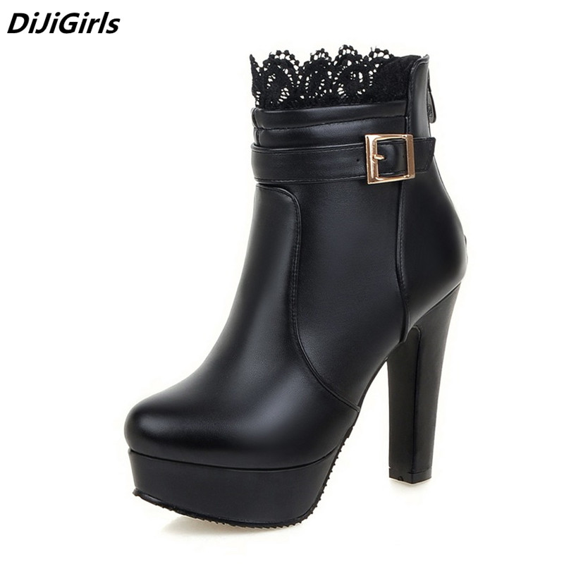 Women Ankle Boots High Heels Boots Platform Shoes womens Fashion Lace Buckle Thin Heel Boots Womens Spring Autumn White Booties women spring autumn fashion black brown full grain genuine leather platform ankle short high heel boots womens shoes boot f48