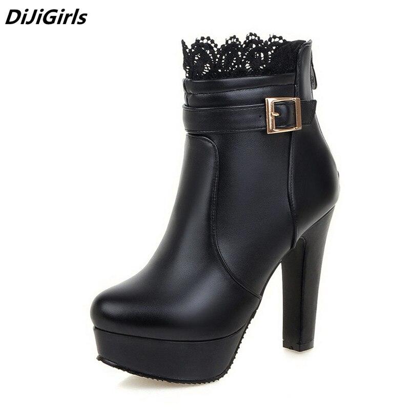 المرأة الكاحل أحذية عالية الكعب الأحذية منصة الأحذية النسائية الأزياء الدانتيل مشبك رقيقة كعب الأحذية النسائية ربيع الخريف الجوارب البيضاء