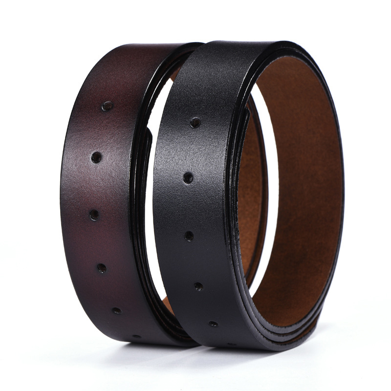Genuine Leather Pin Buckle   Belt   Without Buckle High Quality Brand Designer Strap Male No Buckle   Belts   for Man Jeans Wide 3.3cm