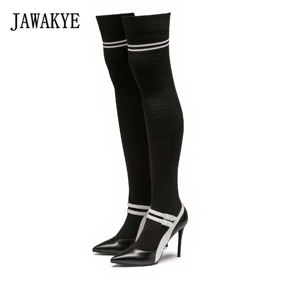 New Arrival Black Knitted Thigh high boots Women pointy toe High heels pumps Elastic botas largas Sexy Over the knee Sock boots недорого