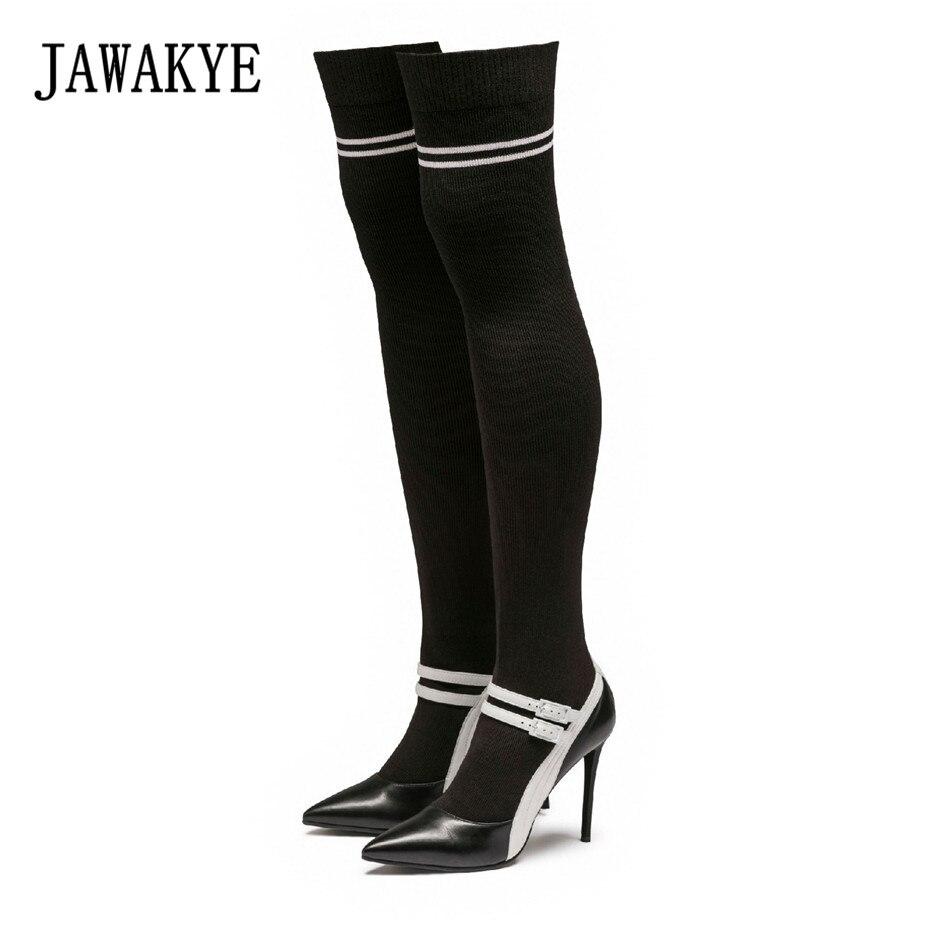 Nouvelle Arrivée Noir Tricoté Cuisse haute bottes Femmes bout pointu talons hauts pompes Élastique botas largas Sexy Sur le genou chaussette bottes