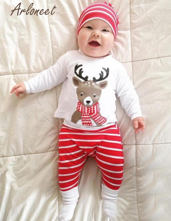 2017 FASHIONNewborn Baby Boy Girl Christmas Deer Print Tops+Pant+Cap Outfits Clothes Set