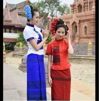 Thai Traditional SaBai Dress Cloth Silk Synthetic Thailand National Costume New Dai traditional clothing Thailand Southeast Asia