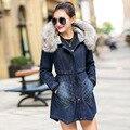 2016 de Inverno das Mulheres Jaqueta Jeans Rasgado Denim Casaco Senhora Roupas Casuais Casaco Feminino Outerwear Quente Com Gola De Pele de Espessura