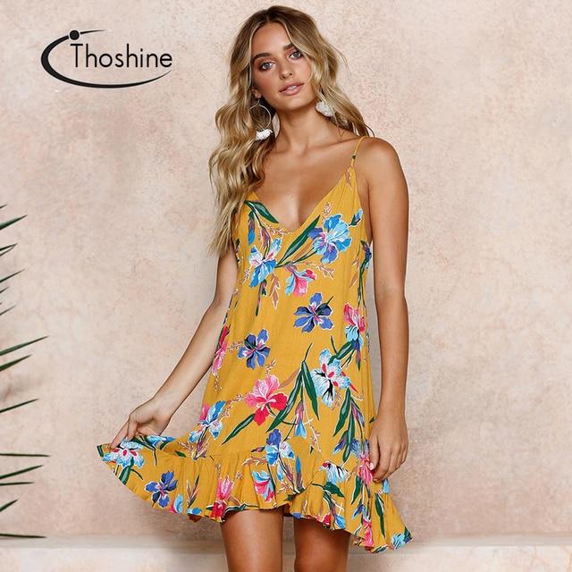 6b6d1cd6ca Thoshine Brand Summer Women Floral Print Dress Deep V-Neck Spaghetti Strap  Female Beach Vacation Vestidos Casual Loose Dresses