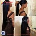 Pelo Virginal Brasileño sin procesar 7A Superior Llena Del Cordón Del Pelo Humano pelucas Delanteras del Cordón Glueless Rectas Del Pelo Humano Pelucas Para Negro mujeres