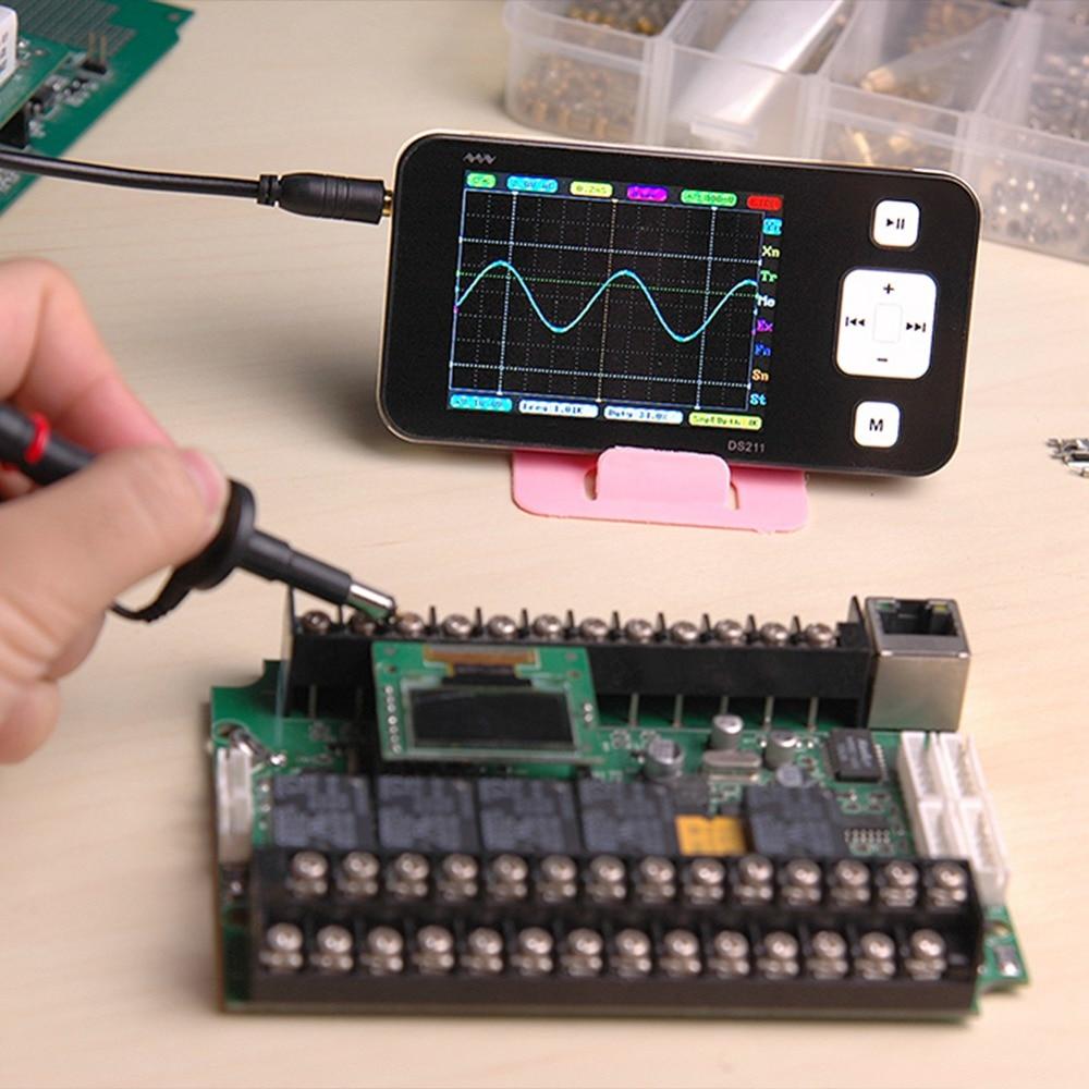 Digital Multimeter Oscilloscope DS211 Portable Waveform Generator USB 2 Channels LCD Display Logic Analyzer With Probe