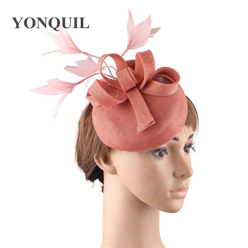 Новые женские шляпки с сеткой цвета хаки, модные женские шляпы с лентами для свадебной вечеринки, красивые аксессуары SYF570 - Цвет: dark peach