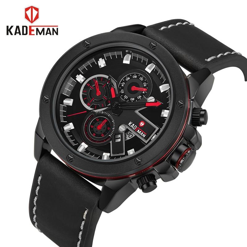 KADEMAN Brand Men's Fashion Casual Sport Watches Men Waterproof Leather Quartz Watch Man military Clock Relogio Masculino