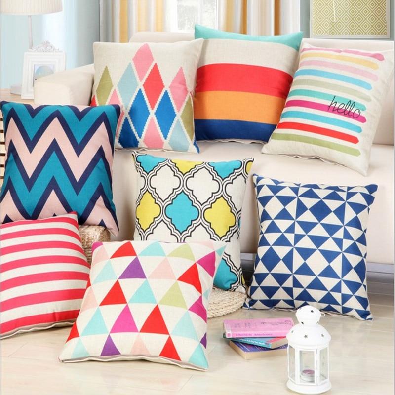 Colorful Geometric Linen Cotton Pillow Chevron Home Decor