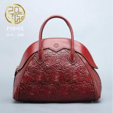 Genuine Leather  women bag  Pmsix New China wind embossed leather handbag Fashion retro Messenger bag Shell package