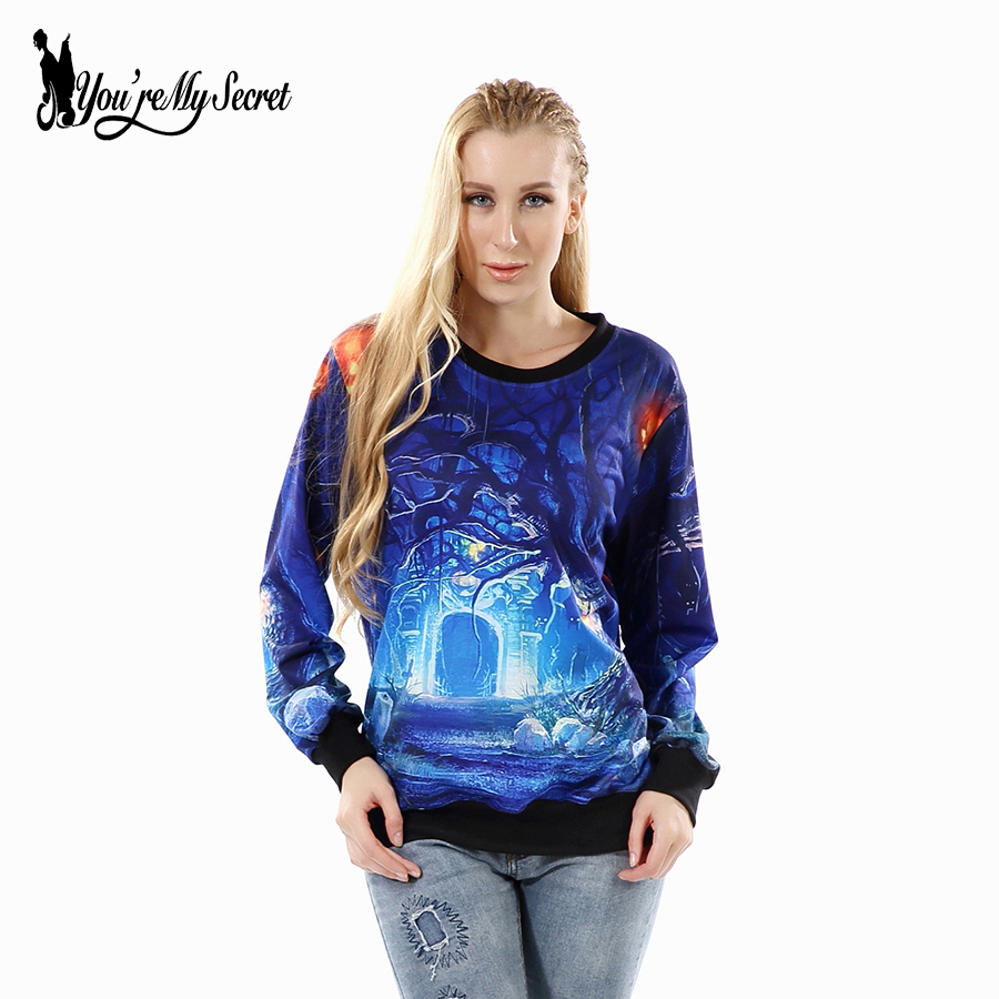[You're My Secret] Halloween Scary Forest Women PrintHoodies Casual Autumn Winter Sweatshirt Long-Sleeve O-Neck Blue Sudaderas
