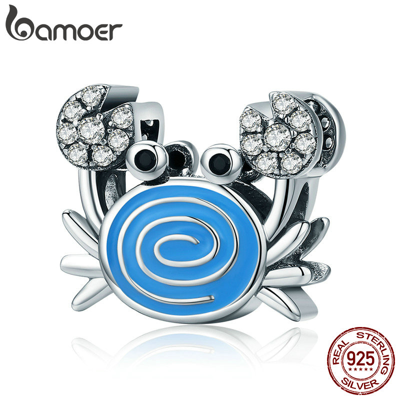 BAMOER Real 925 Sterling Silver Funny Crab Clear CZ Blue Enamel Charm Beads fit Women Bracelets & Necklaces DIY Jewelry SCC682 брелок silver angel 120pcs diy 14x22mm a428 fit slide bracelets necklaces jewelry findings
