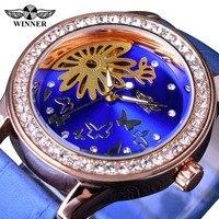 Winner 2017 Blue Butterfly Design Rhinestone Stone Female Dress Clock Women Watches Top Brand Luxury Ladies