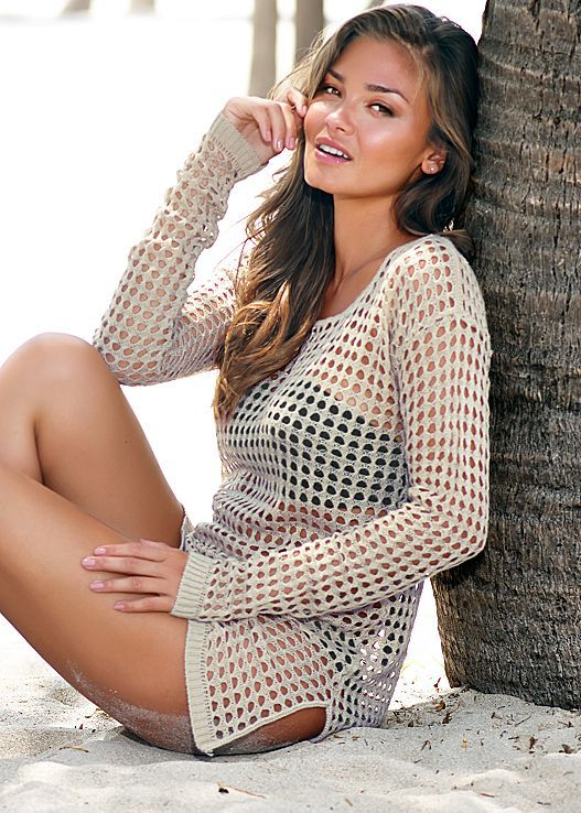 Knitted hollow blouse See through Sheer Sexy women Swimwear dress Crochet cover-ups beach Cover Up Bikini Cover Ups Swimsuit 3