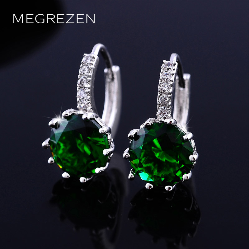 MEGREZEN Cute Silver Earrings With Green Stones Orecchini Donna Crystal Earrings For Girls Boucle DOreille En Cristal Ye024-5