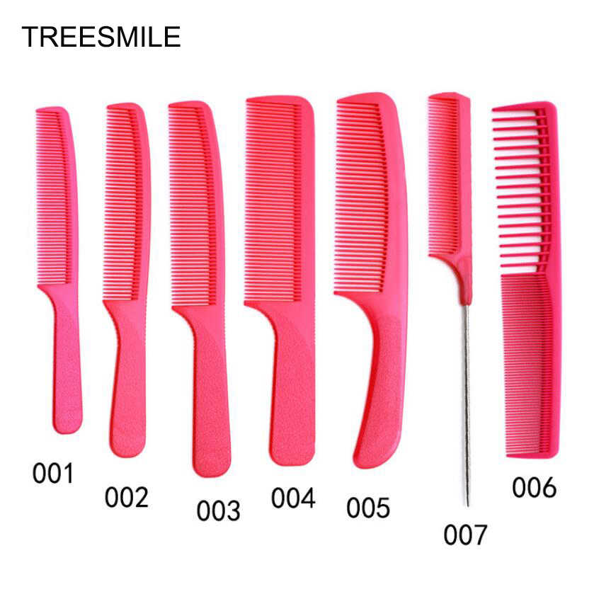 Full Set of Professional Red Ultra-thin Haircut Plastic Flat Head Comb Male Hair Comb Double-sided Hair Brush Tip Tail Comb D50