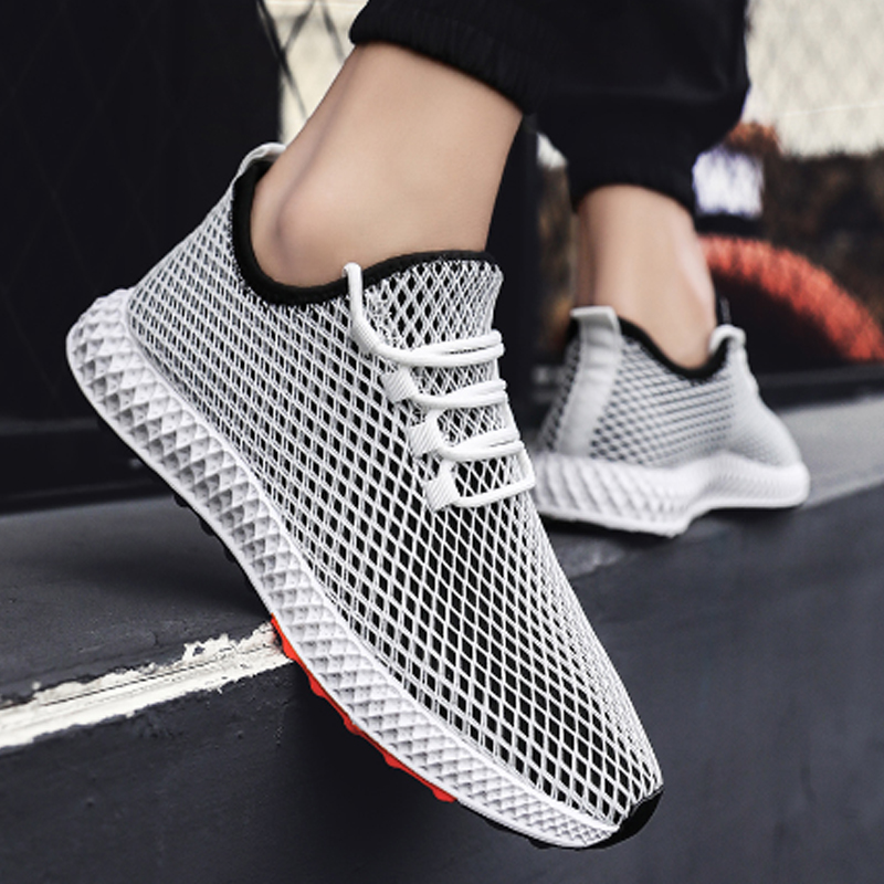 Mens Mesh Flats Shoe Summer Sneakers Breathable Fashion Casual Shoes Krasovki Light Tenis Masculino  Outdoor Shoes