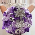 Hot Sale Rose Pink Brooch Bouquet with Sparkling Crystal Artificial Purple Bridal Holding Flowers