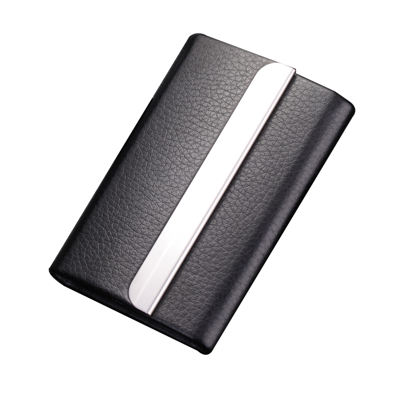 5PCS/Lot Wholesale PU leather stainless steel stainless steel men card holde women metal bank name business Fashion card case ca