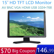 15 zoll Monitor TFT Display 1024*768 HD 15 zoll Monitor Video Audio AV BNC USB VGA HDMI für CCTV Sicherheit DVD Laptop(China)