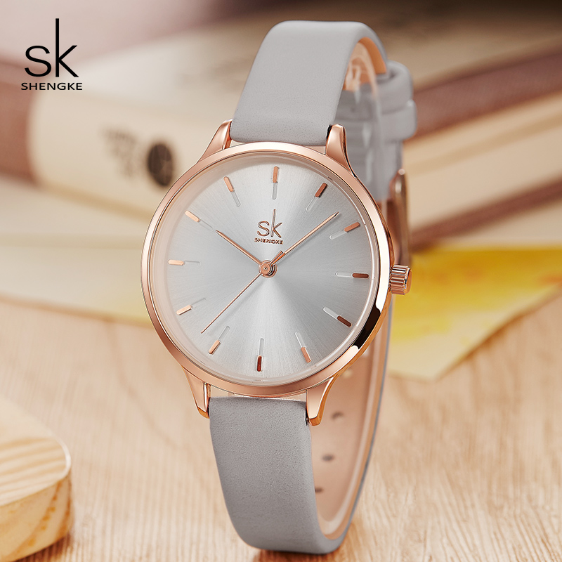 Shengke Brand Fashion Watches Women Casual Leather Strap Female Quartz Watch Reloj Mujer 2018 SK Women Wrist Watch #K8025 shengke top brand fashion ladies watches white leather marble dial female quartz watch women thin casual strap watch reloj muje