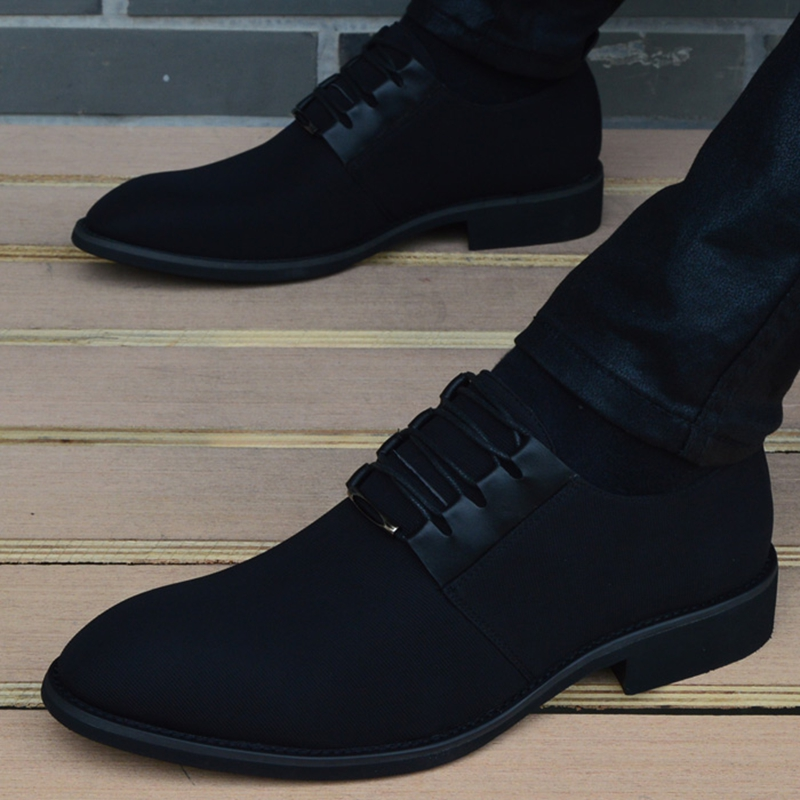 2018 New Spring Men Shoes High Quality Pointed Toe Dress Shoes Breathable Black Lace Up Business