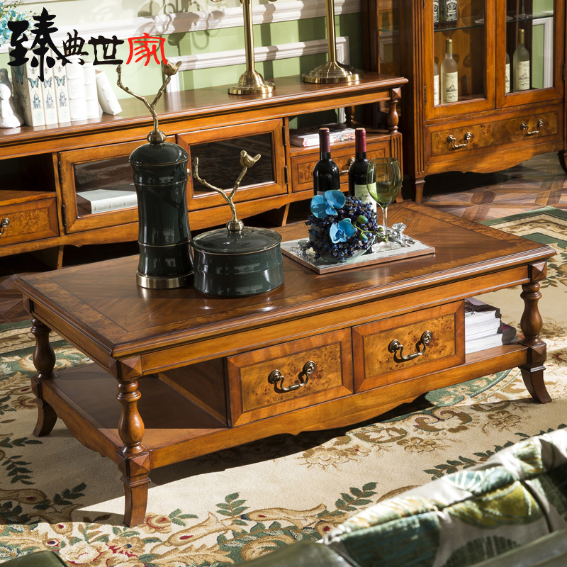 teaside Chinese solid wood coffee table retro rectangular ...